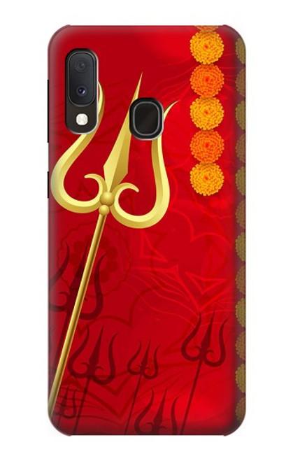 W3788 Shiv Trishul Hülle Schutzhülle Taschen und Leder Flip für Samsung Galaxy A20e