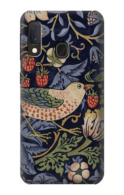 W3791 William Morris Strawberry Thief Fabric Hülle Schutzhülle Taschen und Leder Flip für Samsung Galaxy A20e