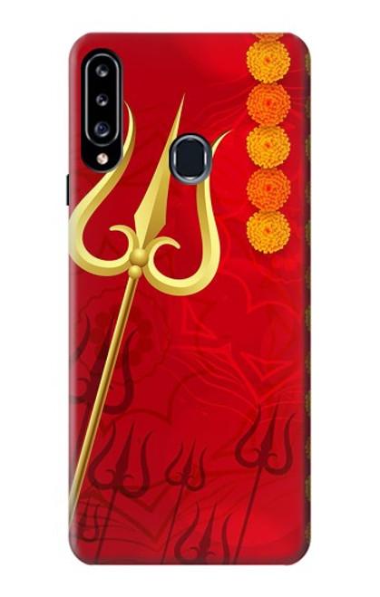 W3788 Shiv Trishul Hülle Schutzhülle Taschen und Leder Flip für Samsung Galaxy A20s