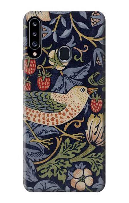 W3791 William Morris Strawberry Thief Fabric Hülle Schutzhülle Taschen und Leder Flip für Samsung Galaxy A20s
