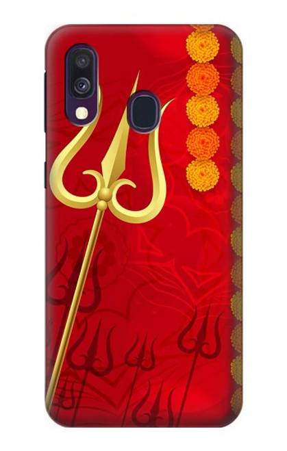 W3788 Shiv Trishul Hülle Schutzhülle Taschen und Leder Flip für Samsung Galaxy A40