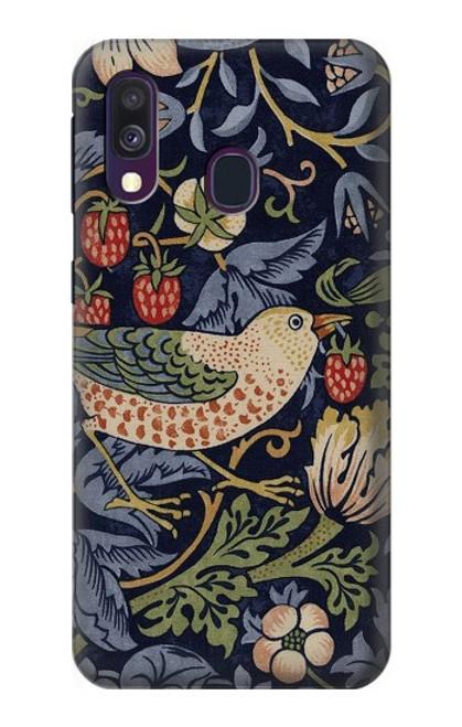 W3791 William Morris Strawberry Thief Fabric Hülle Schutzhülle Taschen und Leder Flip für Samsung Galaxy A40