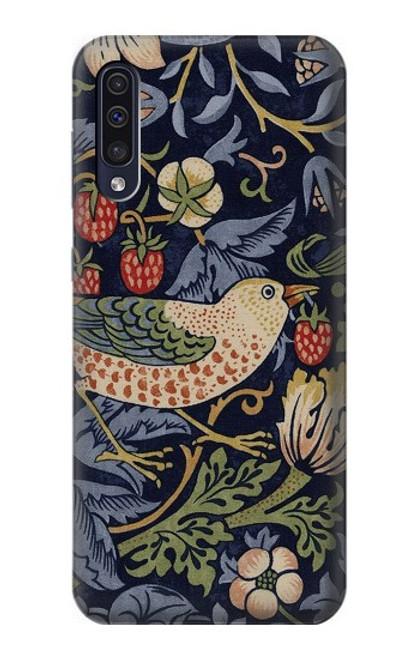 W3791 William Morris Strawberry Thief Fabric Hülle Schutzhülle Taschen und Leder Flip für Samsung Galaxy A50