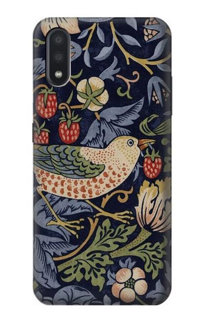W3791 William Morris Strawberry Thief Fabric Hülle Schutzhülle Taschen und Leder Flip für Samsung Galaxy A01