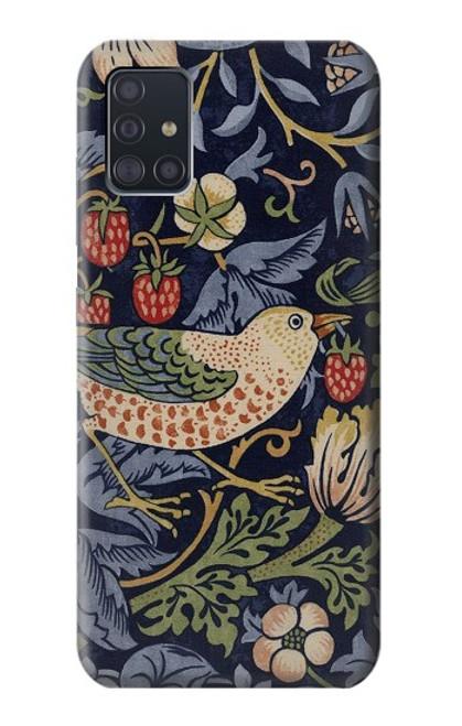 W3791 William Morris Strawberry Thief Fabric Hülle Schutzhülle Taschen und Leder Flip für Samsung Galaxy A51