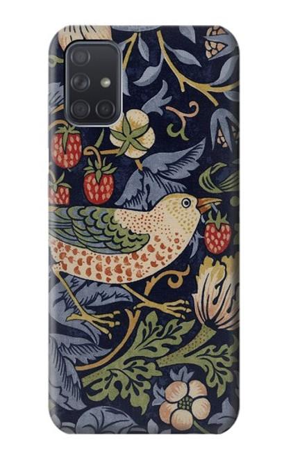 W3791 William Morris Strawberry Thief Fabric Hülle Schutzhülle Taschen und Leder Flip für Samsung Galaxy A71