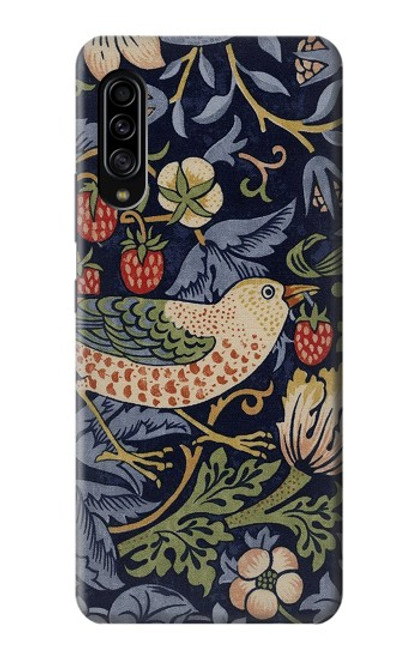W3791 William Morris Strawberry Thief Fabric Hülle Schutzhülle Taschen und Leder Flip für Samsung Galaxy A90 5G