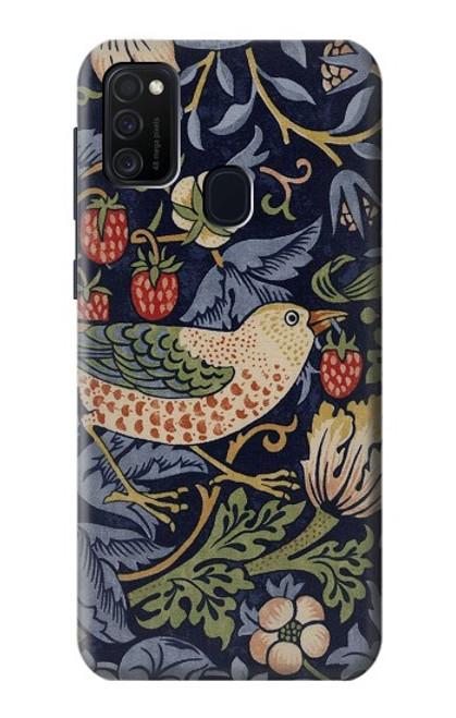 W3791 William Morris Strawberry Thief Fabric Hülle Schutzhülle Taschen und Leder Flip für Samsung Galaxy M21