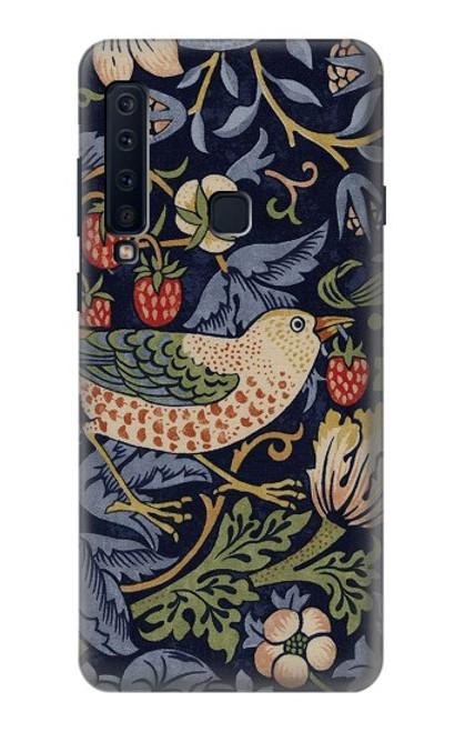 W3791 William Morris Strawberry Thief Fabric Hülle Schutzhülle Taschen und Leder Flip für Samsung Galaxy A9 (2018), A9 Star Pro, A9s