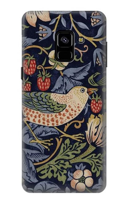 W3791 William Morris Strawberry Thief Fabric Hülle Schutzhülle Taschen und Leder Flip für Samsung Galaxy A8 (2018)