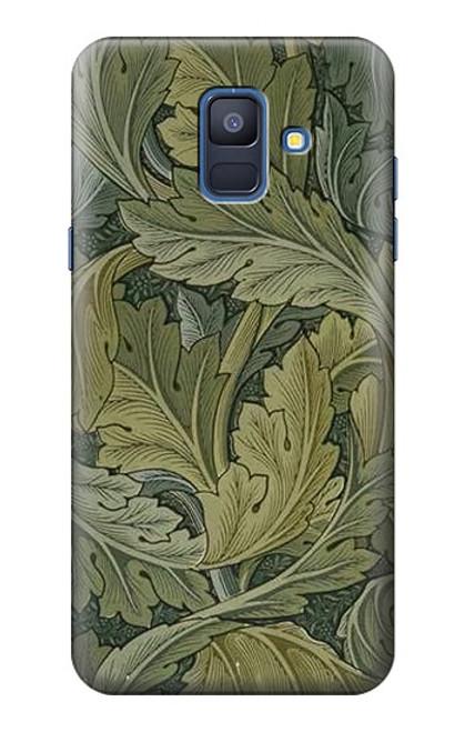W3790 William Morris Acanthus Leaves Hülle Schutzhülle Taschen und Leder Flip für Samsung Galaxy A6 (2018)
