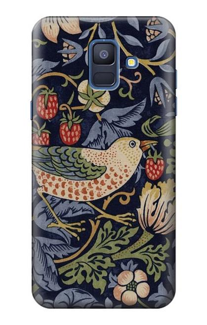 W3791 William Morris Strawberry Thief Fabric Hülle Schutzhülle Taschen und Leder Flip für Samsung Galaxy A6 (2018)