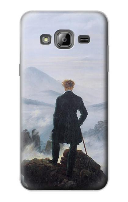 W3789 Wanderer above the Sea of Fog Hülle Schutzhülle Taschen und Leder Flip für Samsung Galaxy J3 (2016)