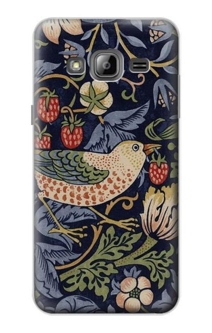W3791 William Morris Strawberry Thief Fabric Hülle Schutzhülle Taschen und Leder Flip für Samsung Galaxy J3 (2016)
