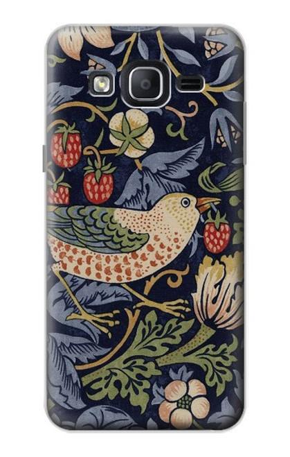 W3791 William Morris Strawberry Thief Fabric Hülle Schutzhülle Taschen und Leder Flip für Samsung Galaxy On5