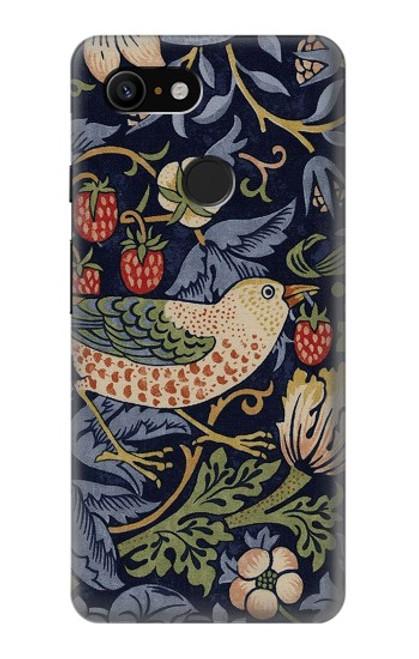 W3791 William Morris Strawberry Thief Fabric Hülle Schutzhülle Taschen und Leder Flip für Google Pixel 3