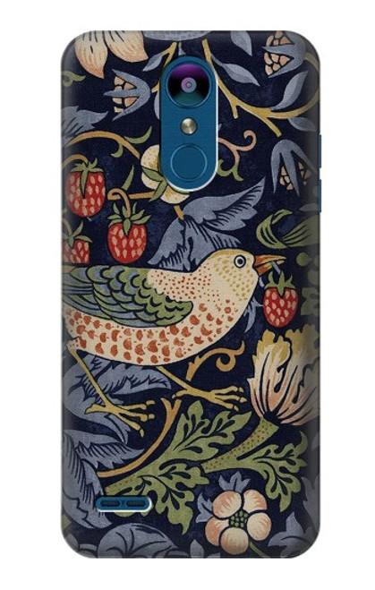 W3791 William Morris Strawberry Thief Fabric Hülle Schutzhülle Taschen und Leder Flip für LG K8 (2018)