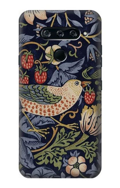 W3791 William Morris Strawberry Thief Fabric Hülle Schutzhülle Taschen und Leder Flip für LG V40, LG V40 ThinQ