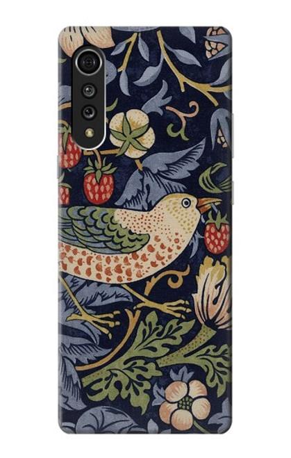 W3791 William Morris Strawberry Thief Fabric Hülle Schutzhülle Taschen und Leder Flip für LG Velvet