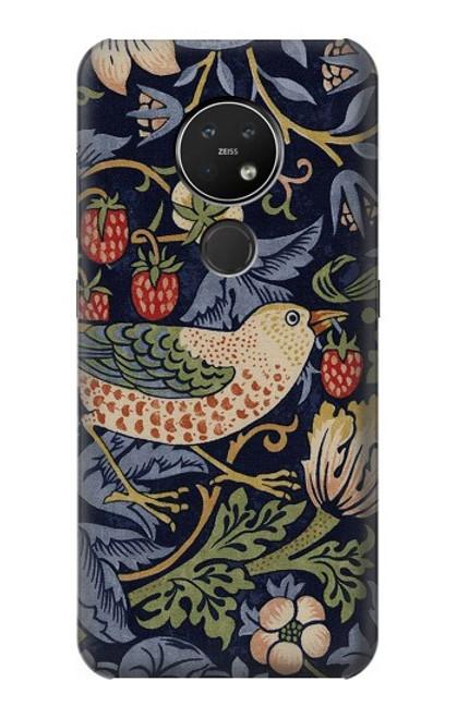 W3791 William Morris Strawberry Thief Fabric Hülle Schutzhülle Taschen und Leder Flip für Nokia 7.2