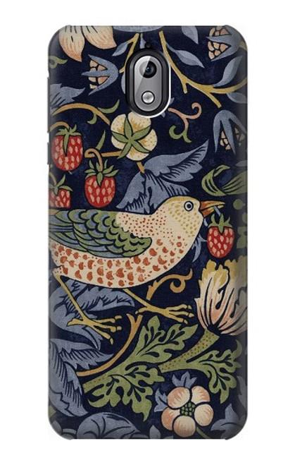 W3791 William Morris Strawberry Thief Fabric Hülle Schutzhülle Taschen und Leder Flip für Nokia 3.1