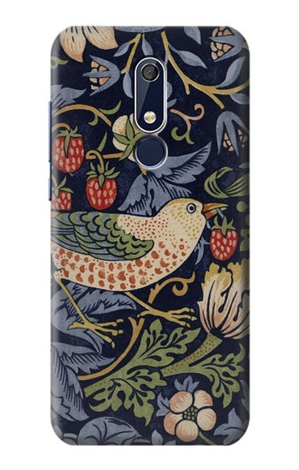 W3791 William Morris Strawberry Thief Fabric Hülle Schutzhülle Taschen und Leder Flip für Nokia 5.1, Nokia 5 2018