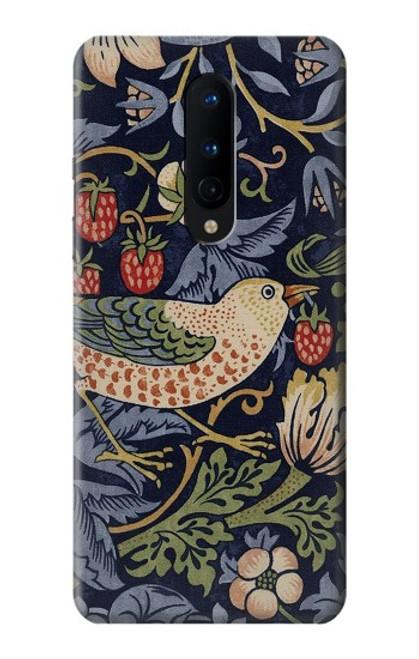 W3791 William Morris Strawberry Thief Fabric Hülle Schutzhülle Taschen und Leder Flip für OnePlus 8