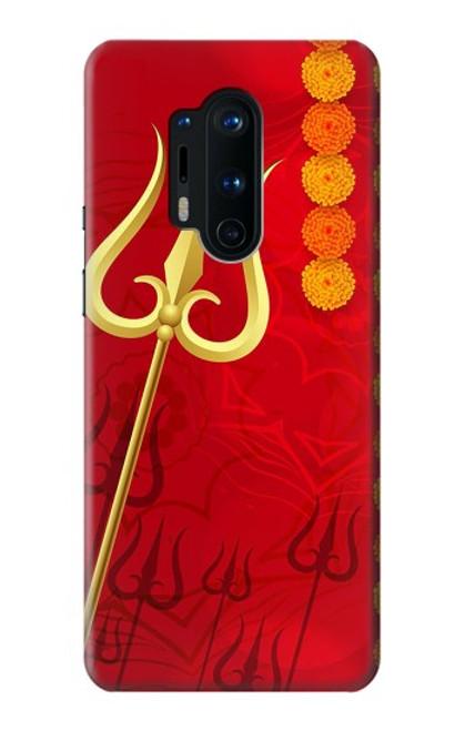W3788 Shiv Trishul Hülle Schutzhülle Taschen und Leder Flip für OnePlus 8 Pro