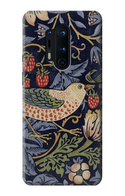 W3791 William Morris Strawberry Thief Fabric Hülle Schutzhülle Taschen und Leder Flip für OnePlus 8 Pro