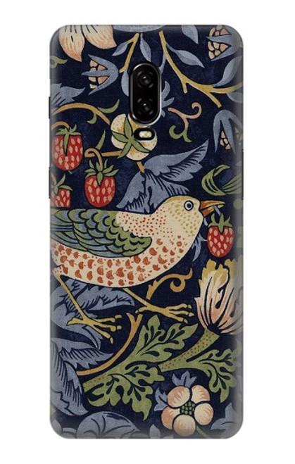 W3791 William Morris Strawberry Thief Fabric Hülle Schutzhülle Taschen und Leder Flip für OnePlus 6T