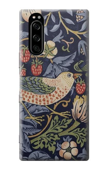W3791 William Morris Strawberry Thief Fabric Hülle Schutzhülle Taschen und Leder Flip für Sony Xperia 5