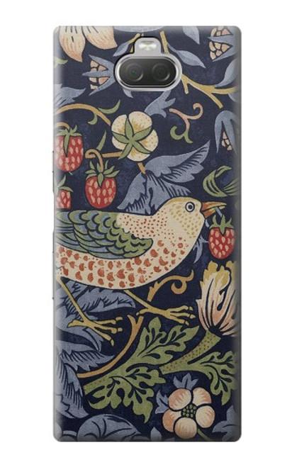 W3791 William Morris Strawberry Thief Fabric Hülle Schutzhülle Taschen und Leder Flip für Sony Xperia 10