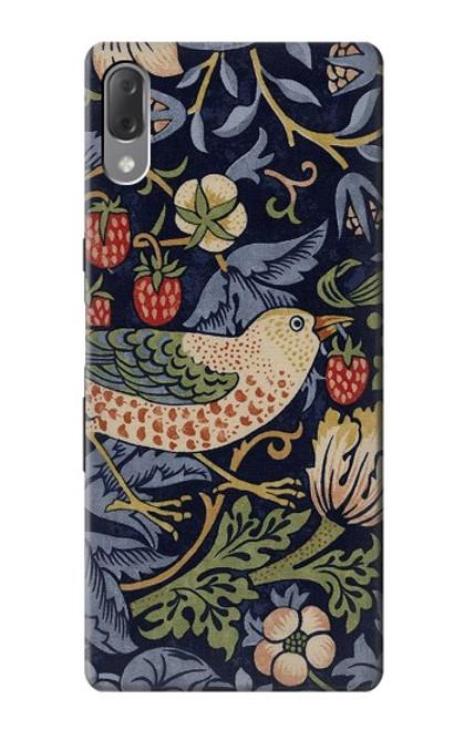W3791 William Morris Strawberry Thief Fabric Hülle Schutzhülle Taschen und Leder Flip für Sony Xperia L3