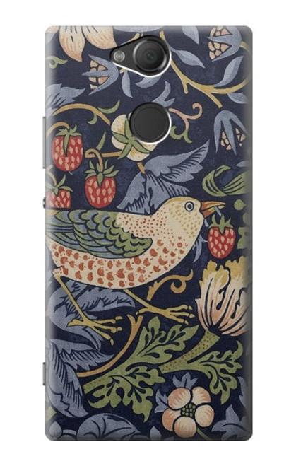 W3791 William Morris Strawberry Thief Fabric Hülle Schutzhülle Taschen und Leder Flip für Sony Xperia XA2