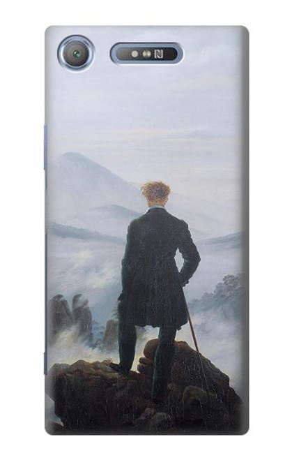 W3789 Wanderer above the Sea of Fog Hülle Schutzhülle Taschen und Leder Flip für Sony Xperia XZ1