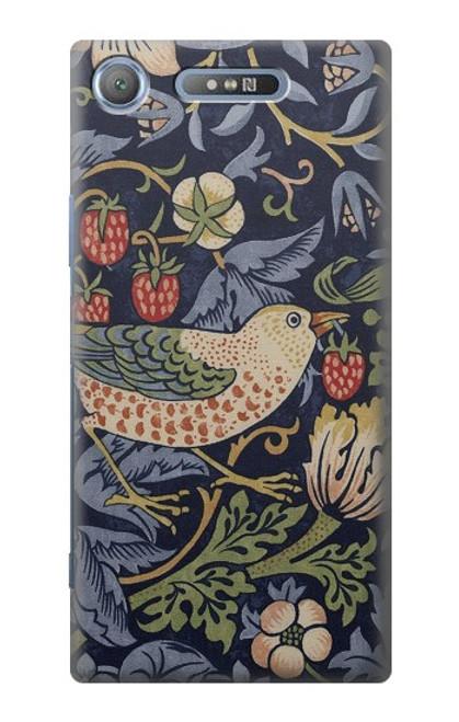 W3791 William Morris Strawberry Thief Fabric Hülle Schutzhülle Taschen und Leder Flip für Sony Xperia XZ1