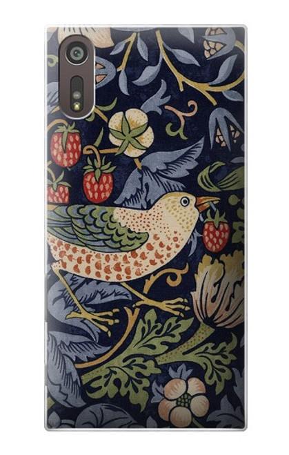 W3791 William Morris Strawberry Thief Fabric Hülle Schutzhülle Taschen und Leder Flip für Sony Xperia XZ