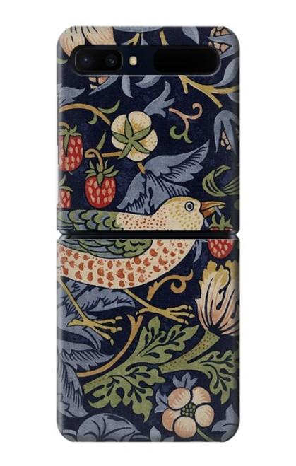 W3791 William Morris Strawberry Thief Fabric Hülle Schutzhülle Taschen und Leder Flip für Samsung Galaxy Z Flip 5G