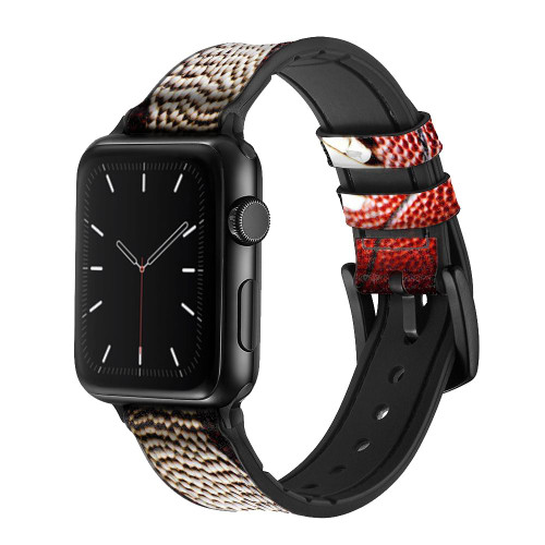 CA0003 American Football Leather & Silicone Smart Watch Band Strap For Apple Watch iWatch