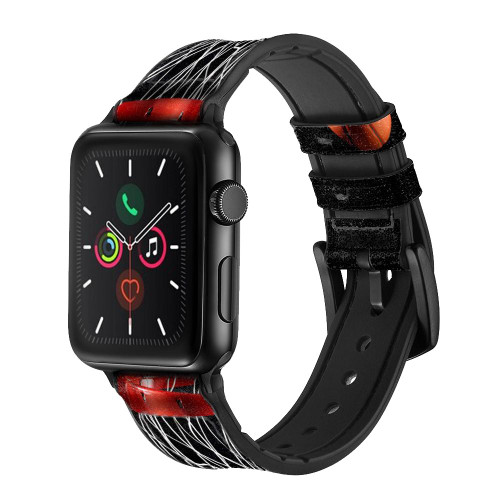 CA0007 Basketball Leather & Silicone Smart Watch Band Strap For Apple Watch iWatch