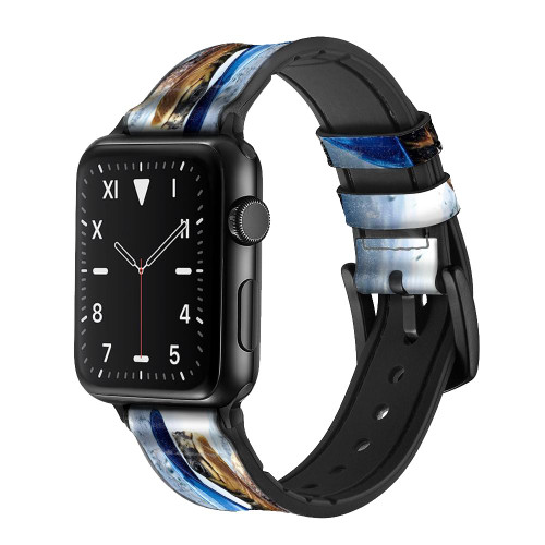 CA0010 Turtle in the Rain Leather & Silicone Smart Watch Band Strap For Apple Watch iWatch