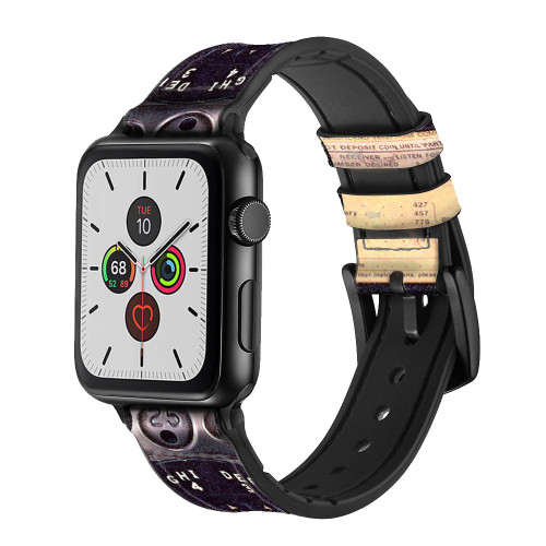CA0011 Payphone Vintage Leather & Silicone Smart Watch Band Strap For Apple Watch iWatch