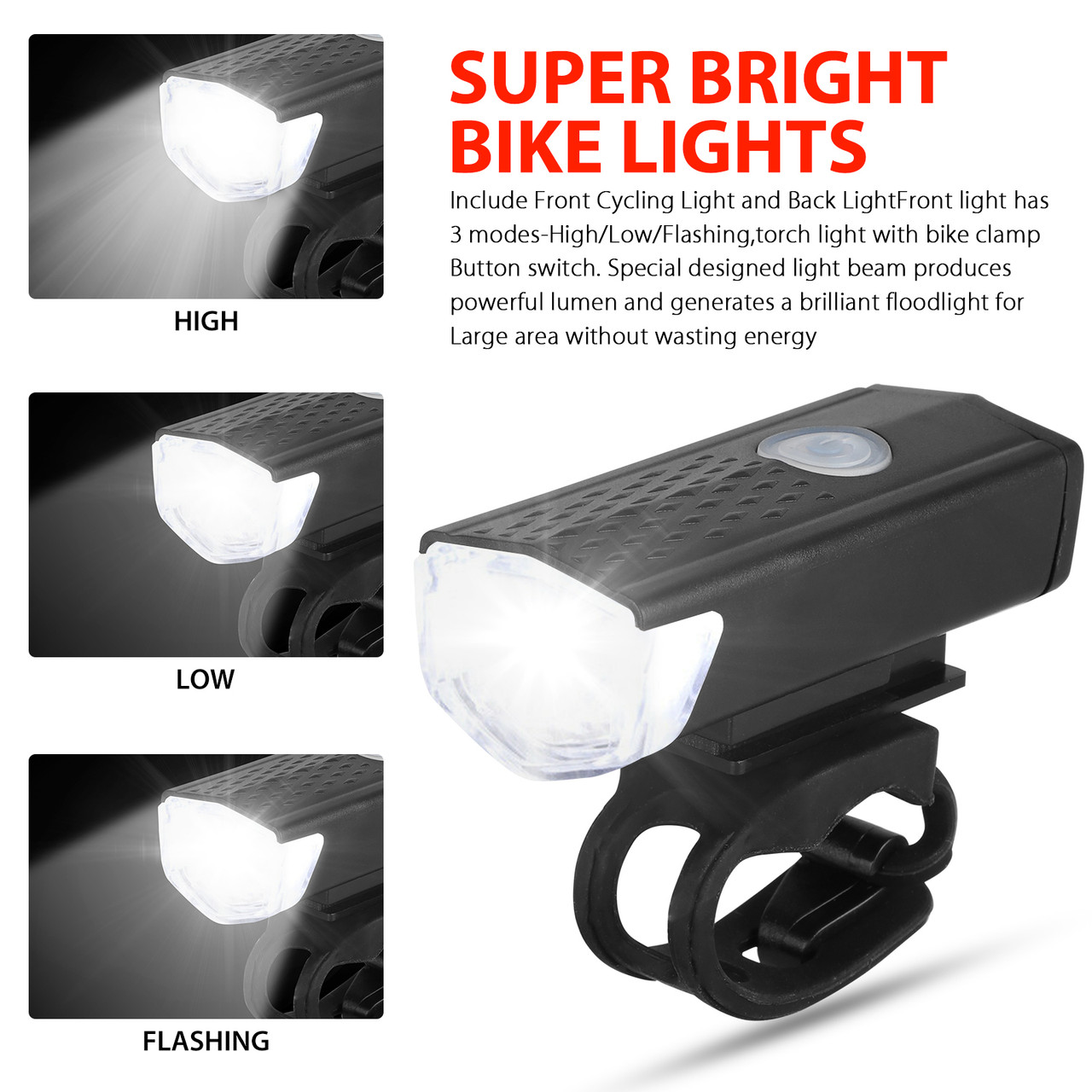 LED USB Rechargeable Cycling Light Bicycle Bike Front Rear Lamp Set With 3 Modes