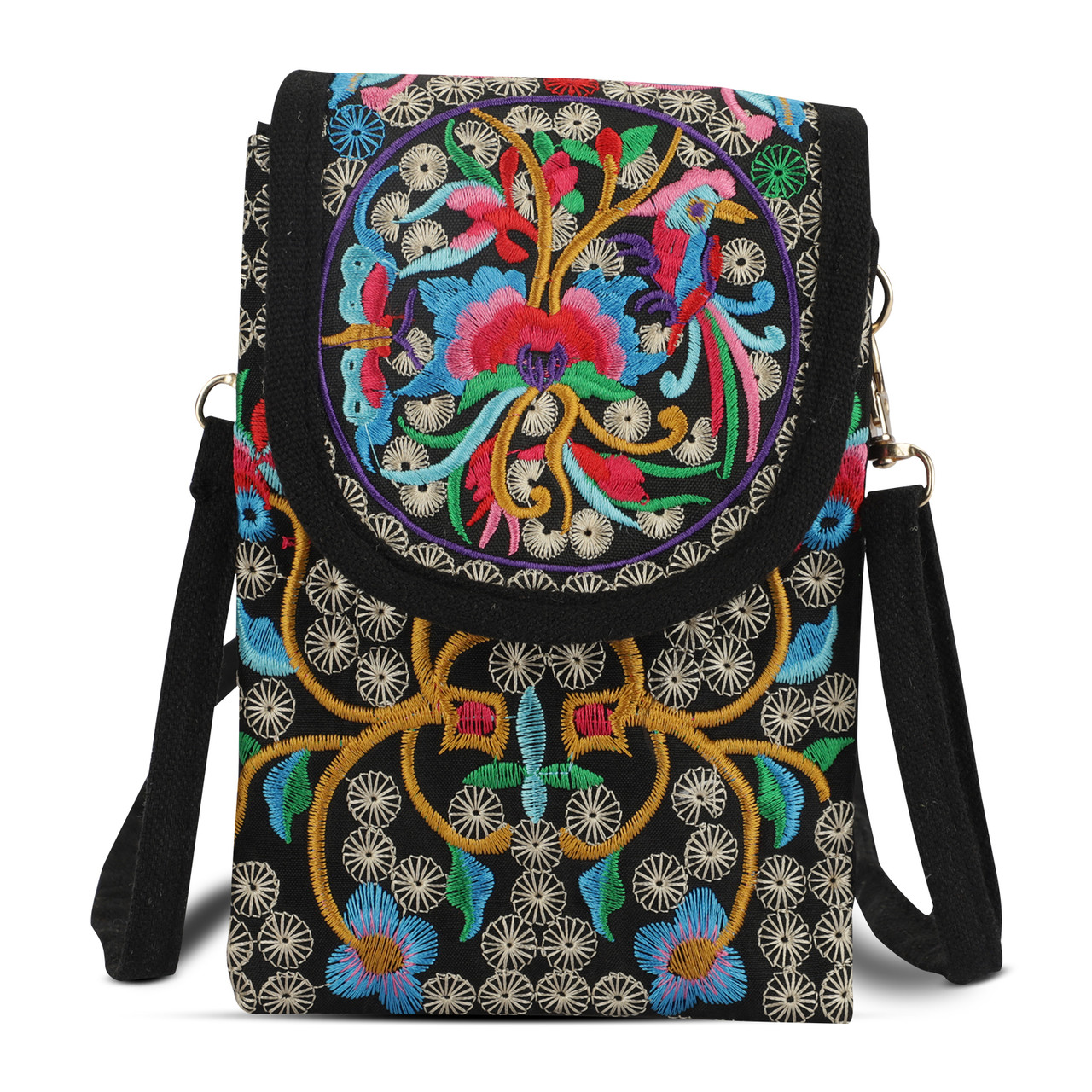 Women Embroidery Bag Crossbody Shoulder Bag Ethnic Mobile Phone Tote Coin Purse