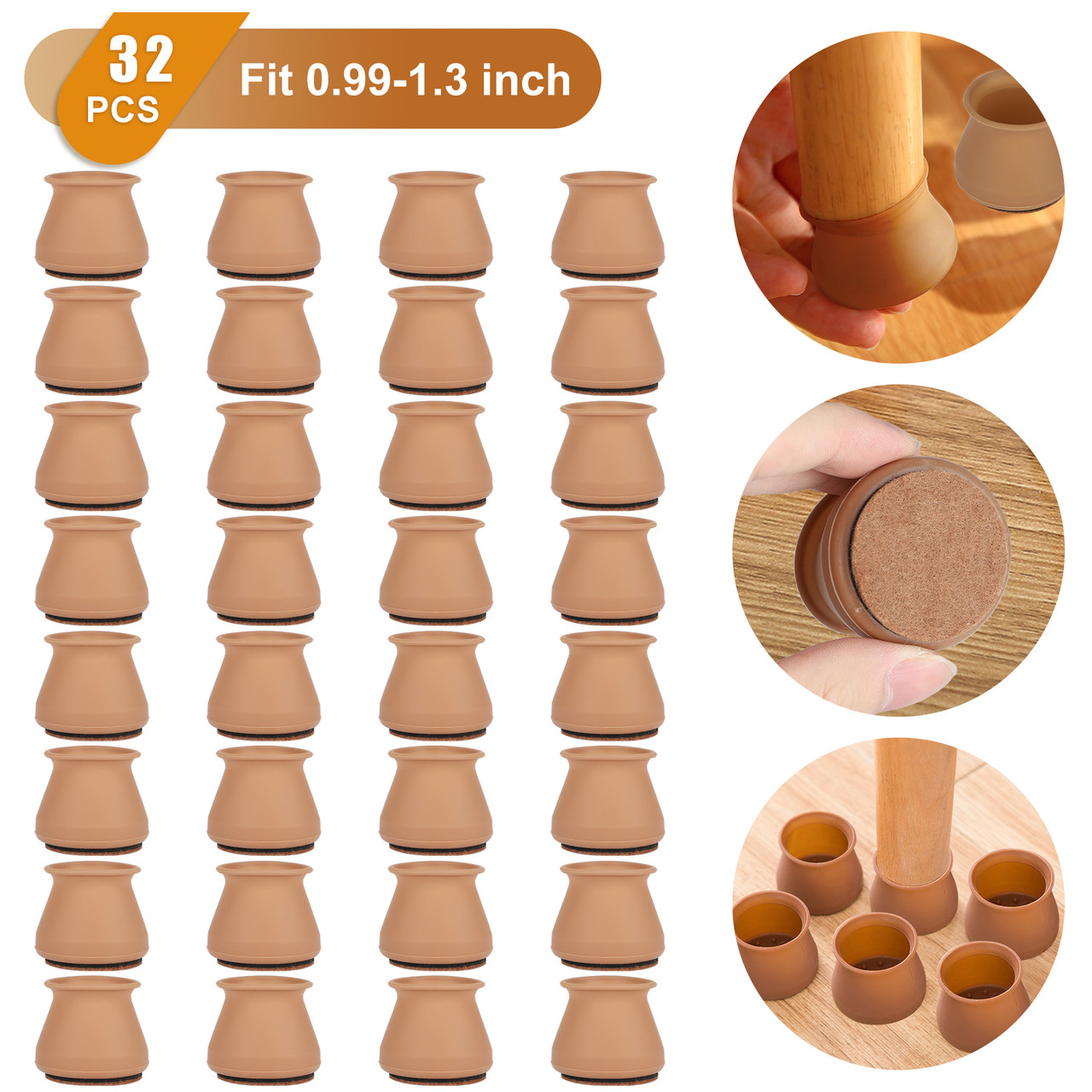 Details about  /32 Furniture Bottom Legs Cover Pads Anti-Slip Felt Chair Cushion Floor Protector