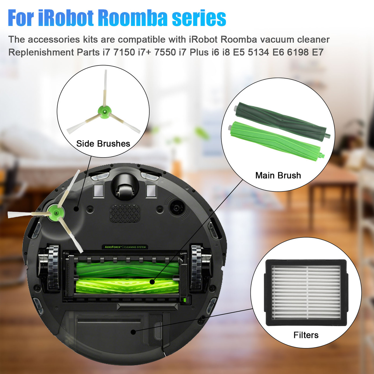 i3 i3 Plus E5 E6 Vacuum,Including 2 Set of Multi-Surface Rubber Brushes /& 10 High-Efficiency HEPA Filters /& 10 Edge-Sweeping Side Brushes i7 i7 Amyehouse Replacement Parts Kit for iRobot Roomba i6