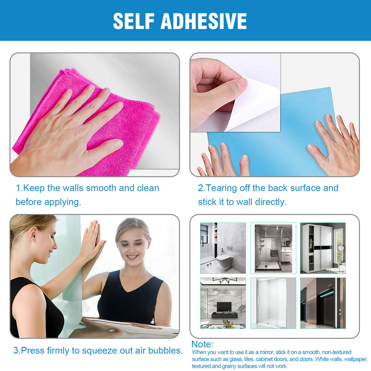 Flexible Mirror Sheet Mirror Surface Wall Sticker Self Adhesive for Bedroom