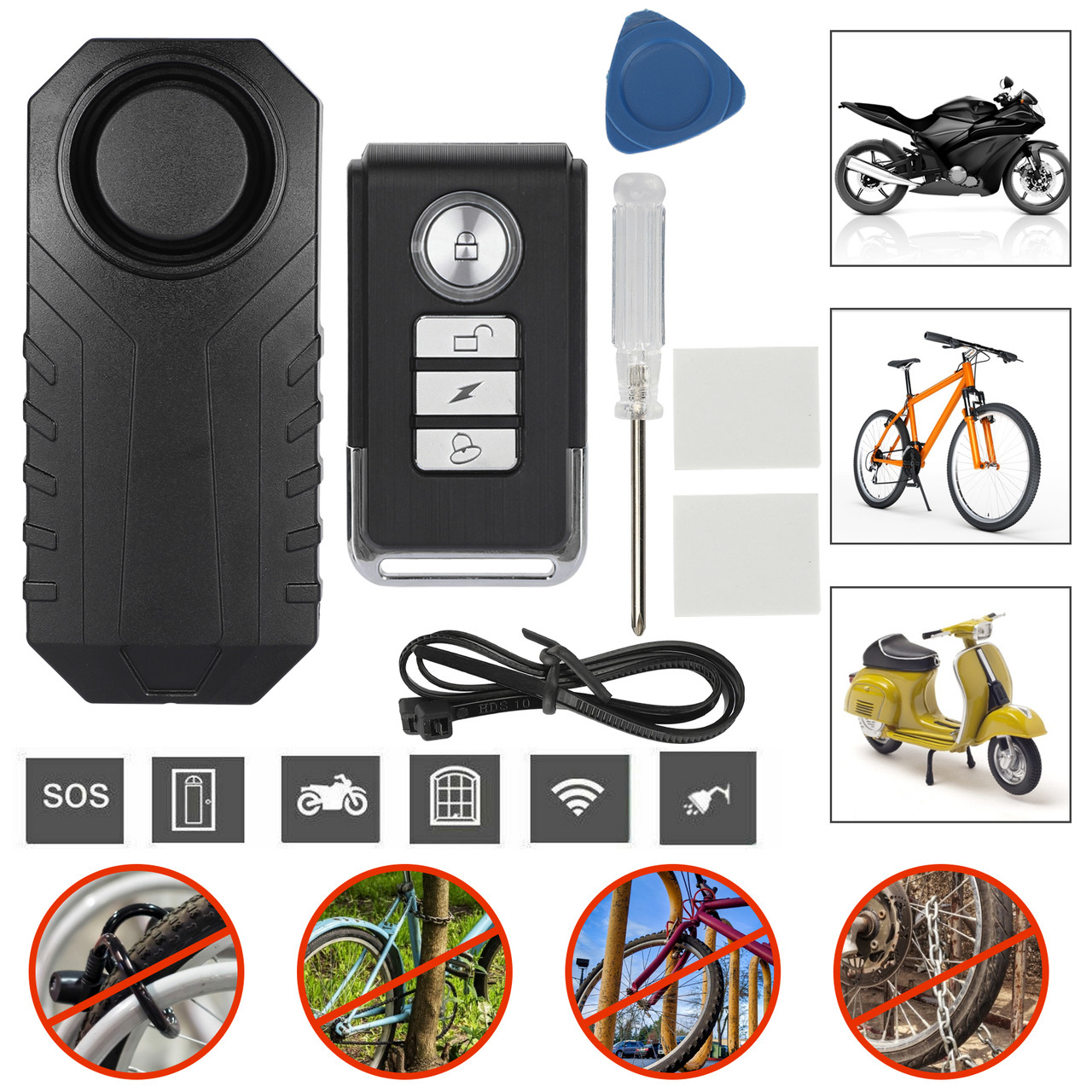 Motorcycle Bicycle Waterproof Security Alarm 113dB Wireless Anti-Theft Vibration