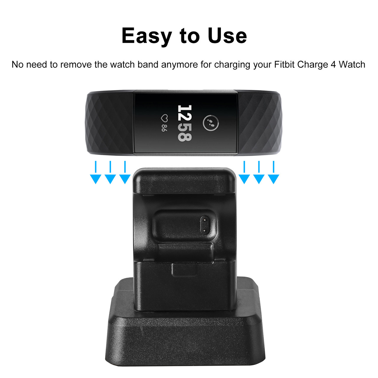4 USB Charger Cable Dock Stand Charging Cord//Leather Band For Fitbit Charge 3