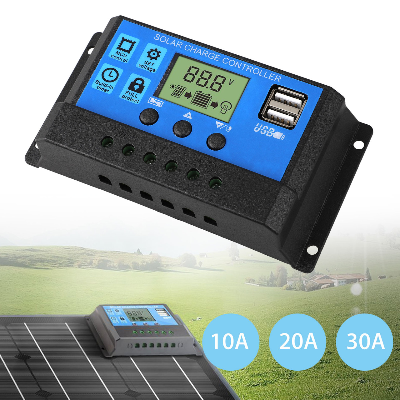 Solar Panel Controller,12V//24V Solar Panel Battery Regulator Charge Controller with Dual USB LCD Display 30A MPPT Solar Charge Controller